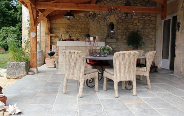 Aged Causse limestone flooring