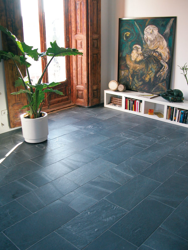 Brushed slate flooring