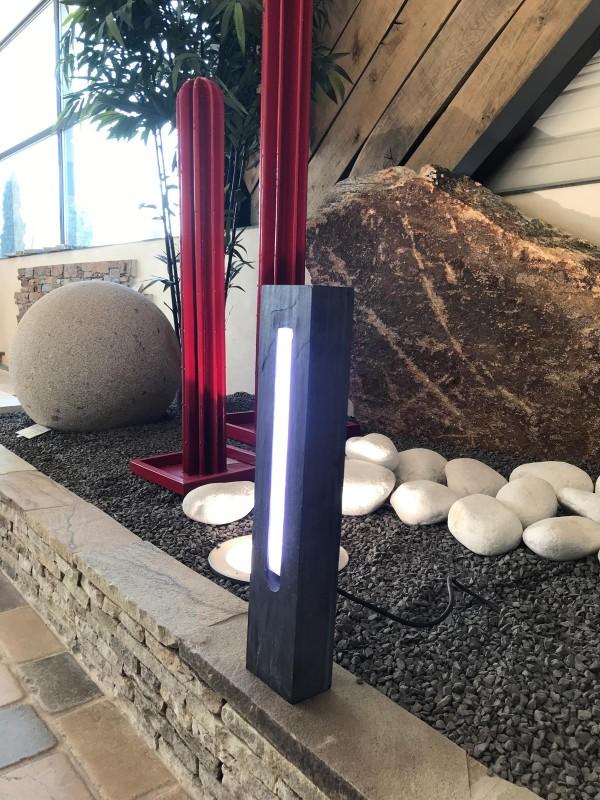 Borne lumineuse en ardoise et cactus en métal peint